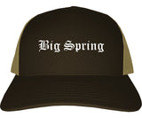 Big Spring Texas TX Old English Mens Trucker Hat Cap Brown