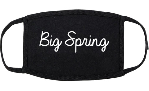 Big Spring Texas TX Script Cotton Face Mask Black