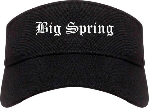 Big Spring Texas TX Old English Mens Visor Cap Hat Black