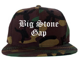 Big Stone Gap Virginia VA Old English Mens Snapback Hat Army Camo
