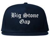 Big Stone Gap Virginia VA Old English Mens Snapback Hat Navy Blue