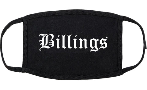 Billings Montana MT Old English Cotton Face Mask Black
