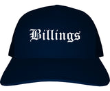 Billings Montana MT Old English Mens Trucker Hat Cap Navy Blue