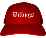 Billings Montana MT Old English Mens Trucker Hat Cap Red