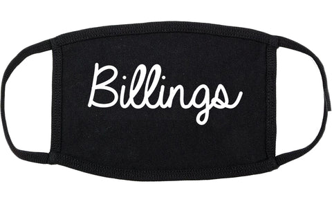 Billings Montana MT Script Cotton Face Mask Black