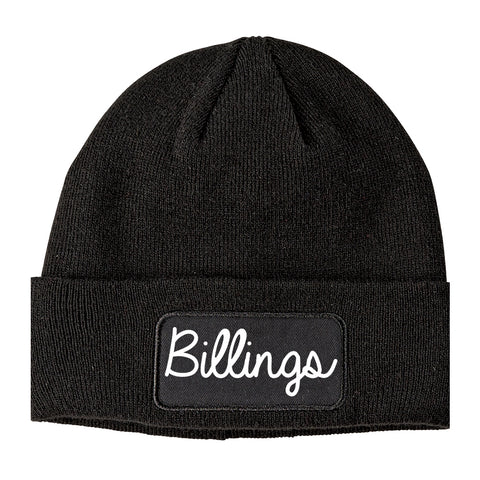 Billings Montana MT Script Mens Knit Beanie Hat Cap Black