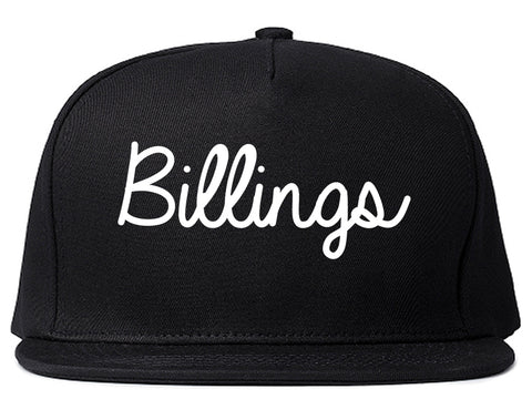 Billings Montana MT Script Mens Snapback Hat Black