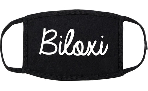 Biloxi Mississippi MS Script Cotton Face Mask Black