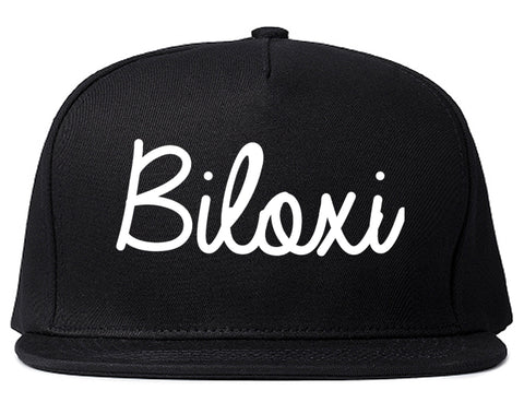Biloxi Mississippi MS Script Mens Snapback Hat Black