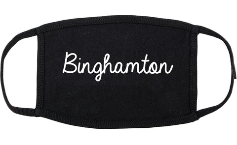 Binghamton New York NY Script Cotton Face Mask Black