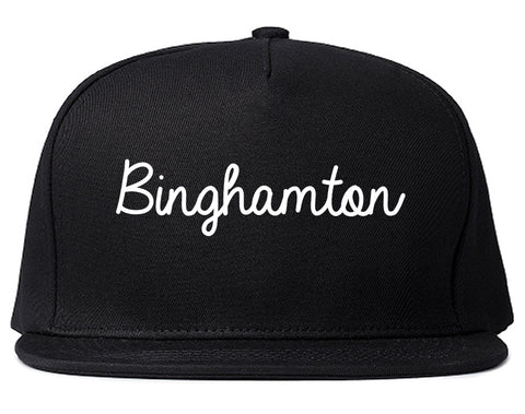 Binghamton New York NY Script Mens Snapback Hat Black