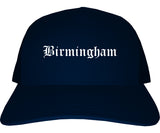 Birmingham Alabama AL Old English Mens Trucker Hat Cap Navy Blue