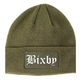 Bixby Oklahoma OK Old English Mens Knit Beanie Hat Cap Olive Green