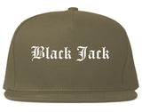 Black Jack Missouri MO Old English Mens Snapback Hat Grey