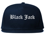Black Jack Missouri MO Old English Mens Snapback Hat Navy Blue
