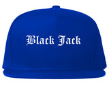 Black Jack Missouri MO Old English Mens Snapback Hat Royal Blue