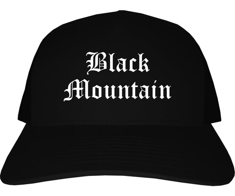 Black Mountain North Carolina NC Old English Mens Trucker Hat Cap Black