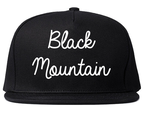 Black Mountain North Carolina NC Script Mens Snapback Hat Black