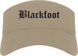 Blackfoot Idaho ID Old English Mens Visor Cap Hat Khaki