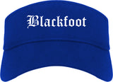 Blackfoot Idaho ID Old English Mens Visor Cap Hat Royal Blue