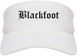 Blackfoot Idaho ID Old English Mens Visor Cap Hat White