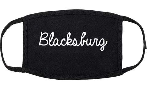 Blacksburg Virginia VA Script Cotton Face Mask Black
