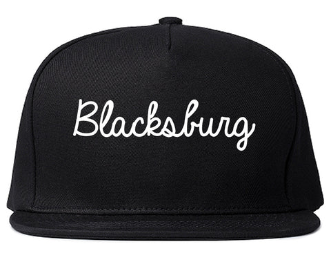 Blacksburg Virginia VA Script Mens Snapback Hat Black