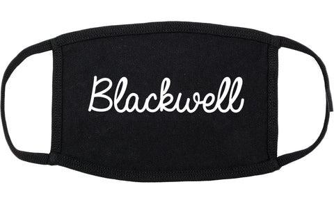 Blackwell Oklahoma OK Script Cotton Face Mask Black