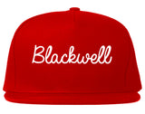Blackwell Oklahoma OK Script Mens Snapback Hat Red