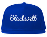 Blackwell Oklahoma OK Script Mens Snapback Hat Royal Blue