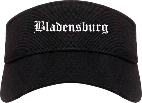 Bladensburg Maryland MD Old English Mens Visor Cap Hat Black