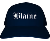 Blaine Washington WA Old English Mens Trucker Hat Cap Navy Blue