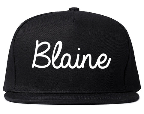 Blaine Washington WA Script Mens Snapback Hat Black