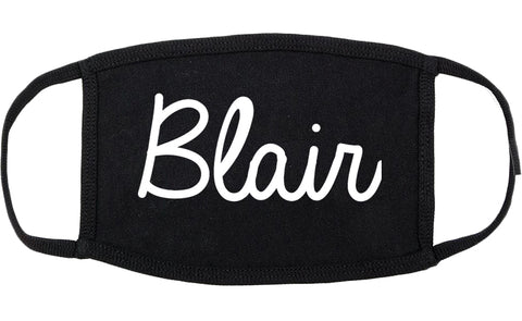 Blair Nebraska NE Script Cotton Face Mask Black