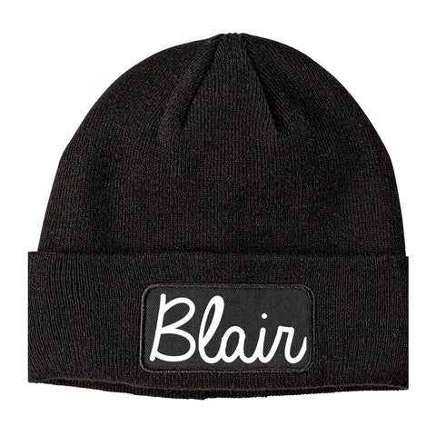Blair Nebraska NE Script Mens Knit Beanie Hat Cap Black