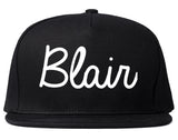Blair Nebraska NE Script Mens Snapback Hat Black