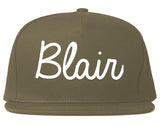 Blair Nebraska NE Script Mens Snapback Hat Grey