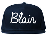 Blair Nebraska NE Script Mens Snapback Hat Navy Blue