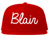 Blair Nebraska NE Script Mens Snapback Hat Red