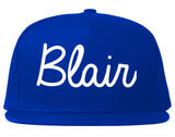 Blair Nebraska NE Script Mens Snapback Hat Royal Blue