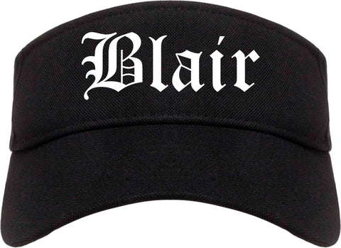 Blair Nebraska NE Old English Mens Visor Cap Hat Black