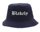 Blakely Georgia GA Old English Mens Bucket Hat Navy Blue