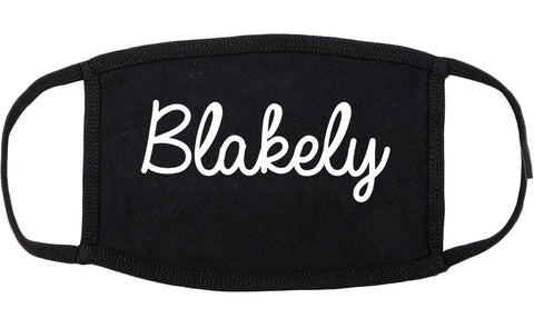 Blakely Georgia GA Script Cotton Face Mask Black