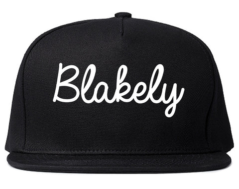Blakely Georgia GA Script Mens Snapback Hat Black