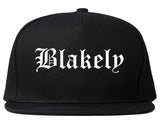 Blakely Pennsylvania PA Old English Mens Snapback Hat Black
