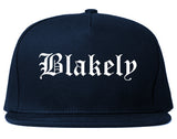 Blakely Pennsylvania PA Old English Mens Snapback Hat Navy Blue