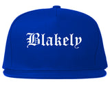 Blakely Pennsylvania PA Old English Mens Snapback Hat Royal Blue
