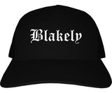 Blakely Pennsylvania PA Old English Mens Trucker Hat Cap Black