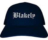 Blakely Pennsylvania PA Old English Mens Trucker Hat Cap Navy Blue