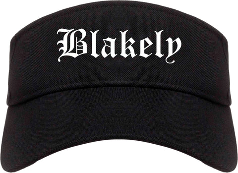 Blakely Pennsylvania PA Old English Mens Visor Cap Hat Black